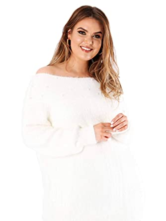 c131c60ef2c Lovedrobe Koko Women s Plus Size Cream Wide Neck Beaded Jumper ...