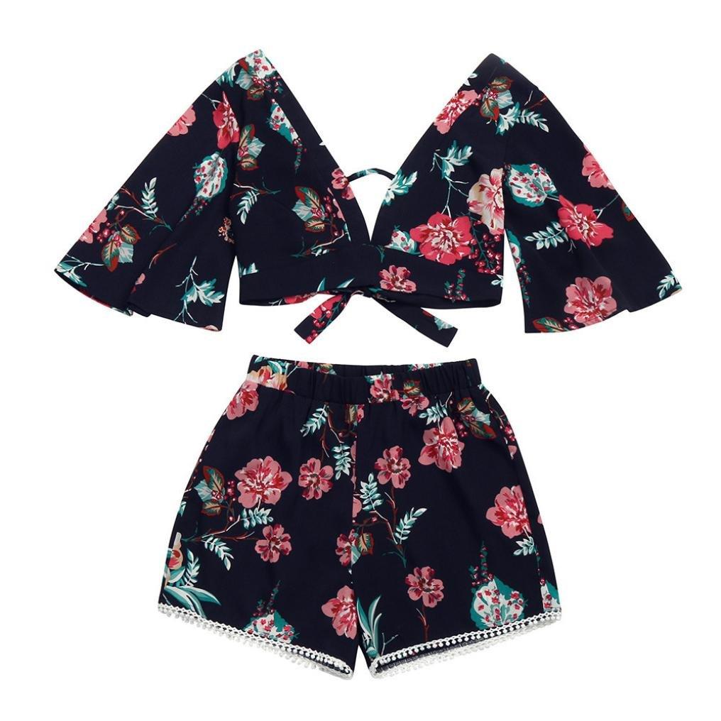 iHENGH Casual Zweiteiler Damen Botanische Print Sommer V Kragen Top Shorts Beachwear