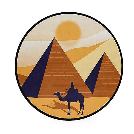 Pyramids Alfombra redonda de Egipto, antideslizante, suave ...