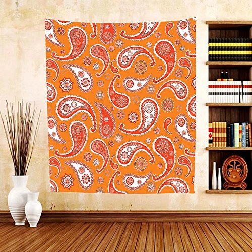 Gzhihine Custom tapestry Burnt Orange Decor Collection Islamic Paisley Ethnic Unusual Motifs with Eastern Oriental Patterns Decorative Bedroom Living Room Dorm Tapestry Orange White by Gzhihine