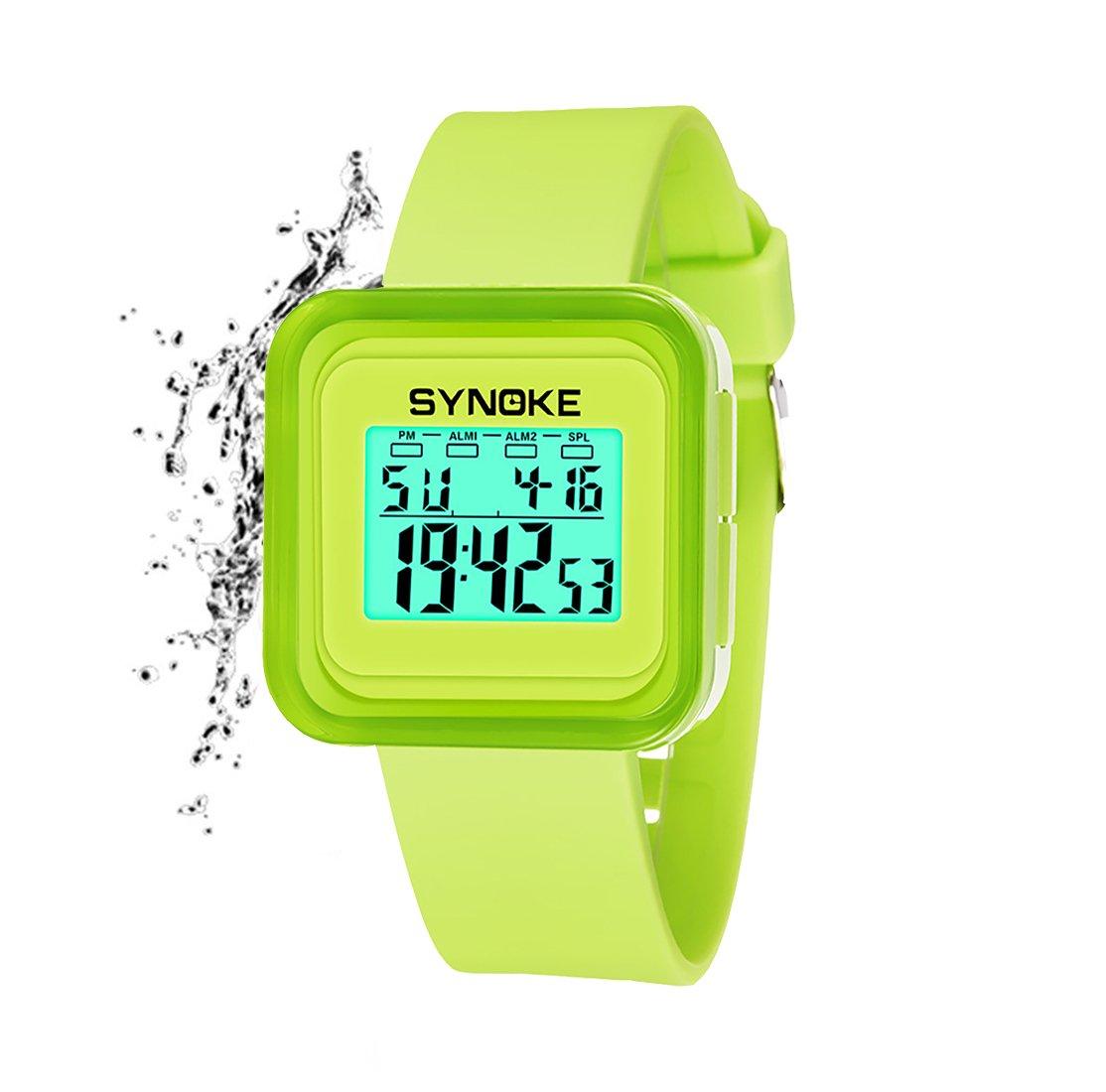 Kids Boys Girls Sport Digital Watch,Outdoor 50M Waterproof Watch with Alarm Stopwatch Square Wrist Watches for Girls Boys (Green)