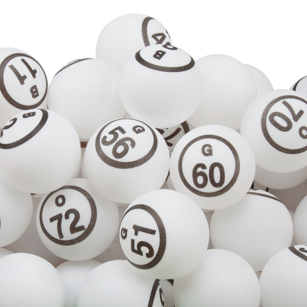 GSE Games & Sports Expert 1.5-inch Professional Ping Pong Size White Single Number Replacement Bingo Balls (#B1-O75)