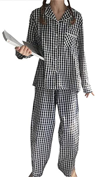 Pijama Mujer Cuadros Dos Piezas Bolsillos Delanteros Manga Larga De Solapa Elastische Taille Camisas Moda Pantalones De Pijama (Color : Schwarz, Size : One Size): Amazon.es: Ropa y accesorios