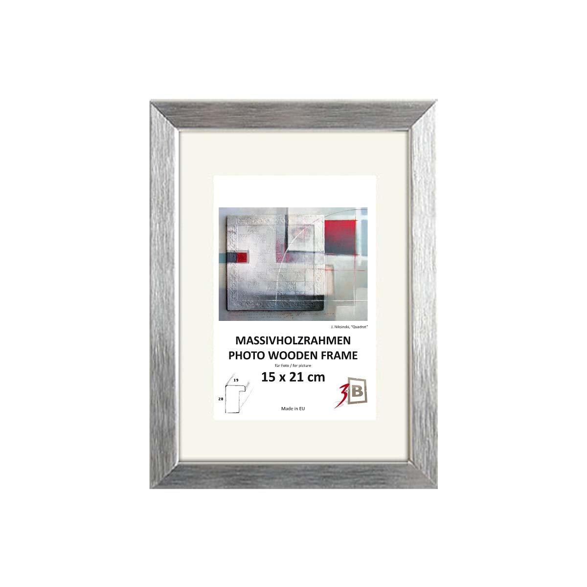Amazon.de: Bilderrahmen - LYON 40x50 cm - silber - Holzrahmen ...