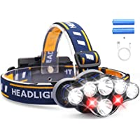 Headlamp, DELEE 13000 Lumen Brightest 8 LED Headlight Flashlight with White Red Lights, USB Rechargeable Waterproof Head…