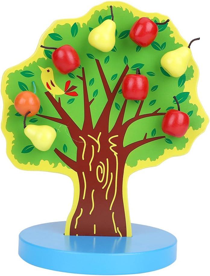 Juguete de Madera del árbol de la Manzana Rompecabezas Magnéticos de la Matemática para el Bebé Niños Embroma el Papel Lindo de DIY Juegue los Juguetes de Aprendizaje Temprano Regalo Educativo de los