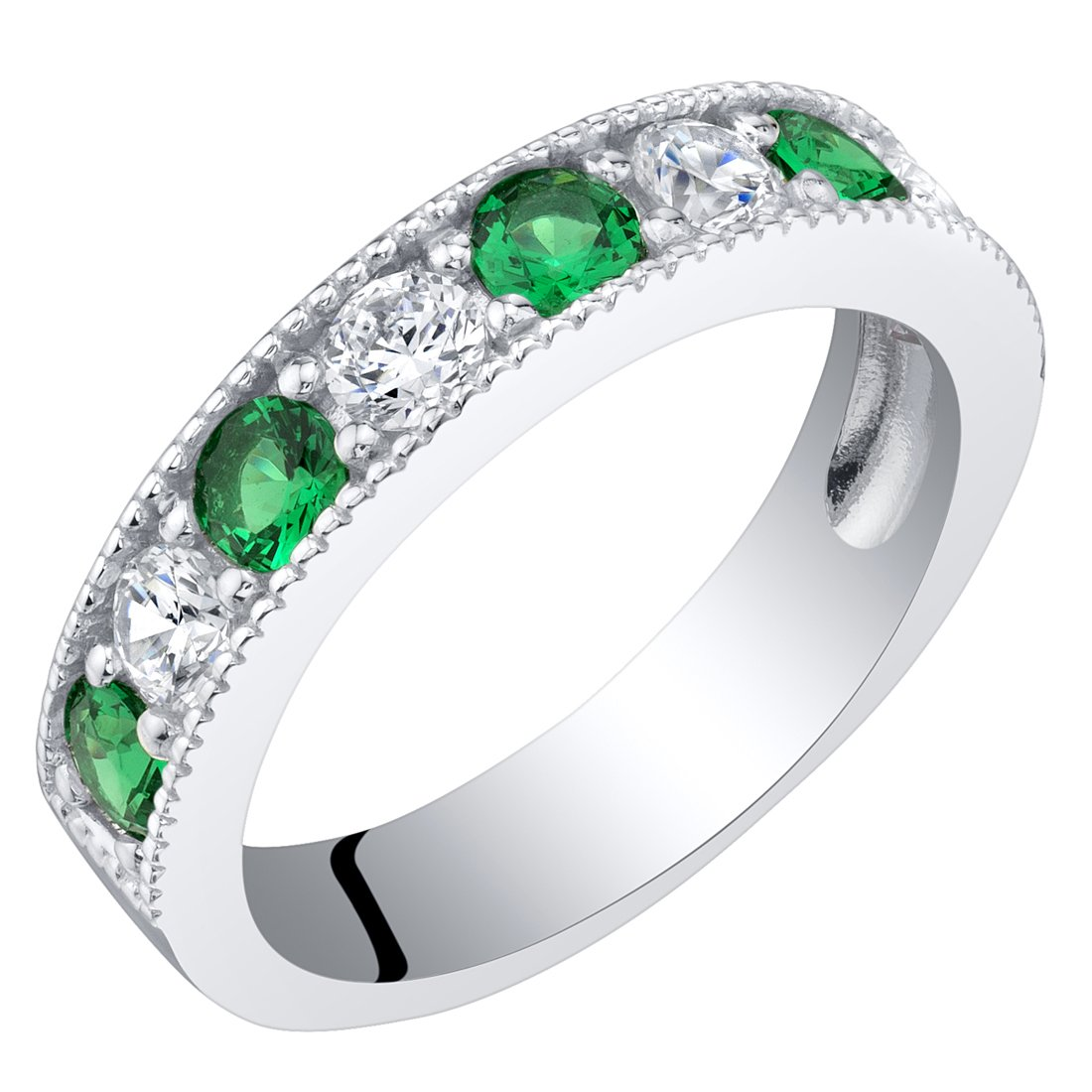 Sterling Silver Simulated Emerald Milgrain Half Eternity Ring Band Size 6