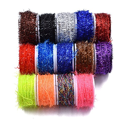 10 Spools Multi Colors Tinsel Chenille Line Crystal Flash Line Total 100M Fly Fishing Tying Material for Nymphal Bugs Scud (150 Spools-150M) (Scud Fly Tying Hooks)
