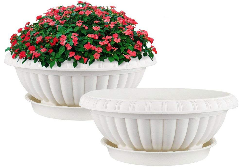 Mkono 2 Pack Plastic Planter Bowl 12 Inches Plant Pots with Saucers, Beige by Mkono