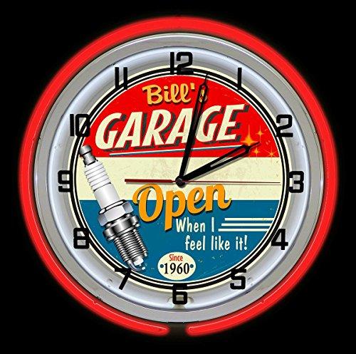 Redeye Laserworks Personalized Vintage Red Neon Light Garage Clock from