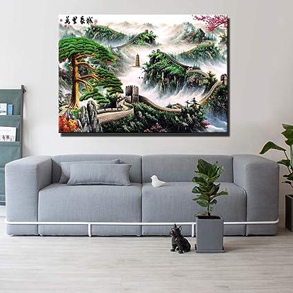 Saludo chino Lienzo de pintura de pared Paisaje chino ...