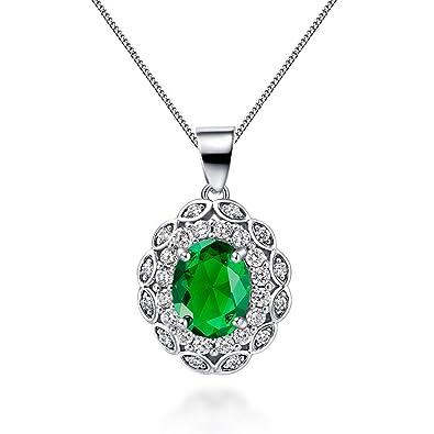 Floray womans elegant oval green sapphire pendant necklace with floray womans elegant oval green sapphire pendant necklace with zircon beautiful gift aloadofball Choice Image