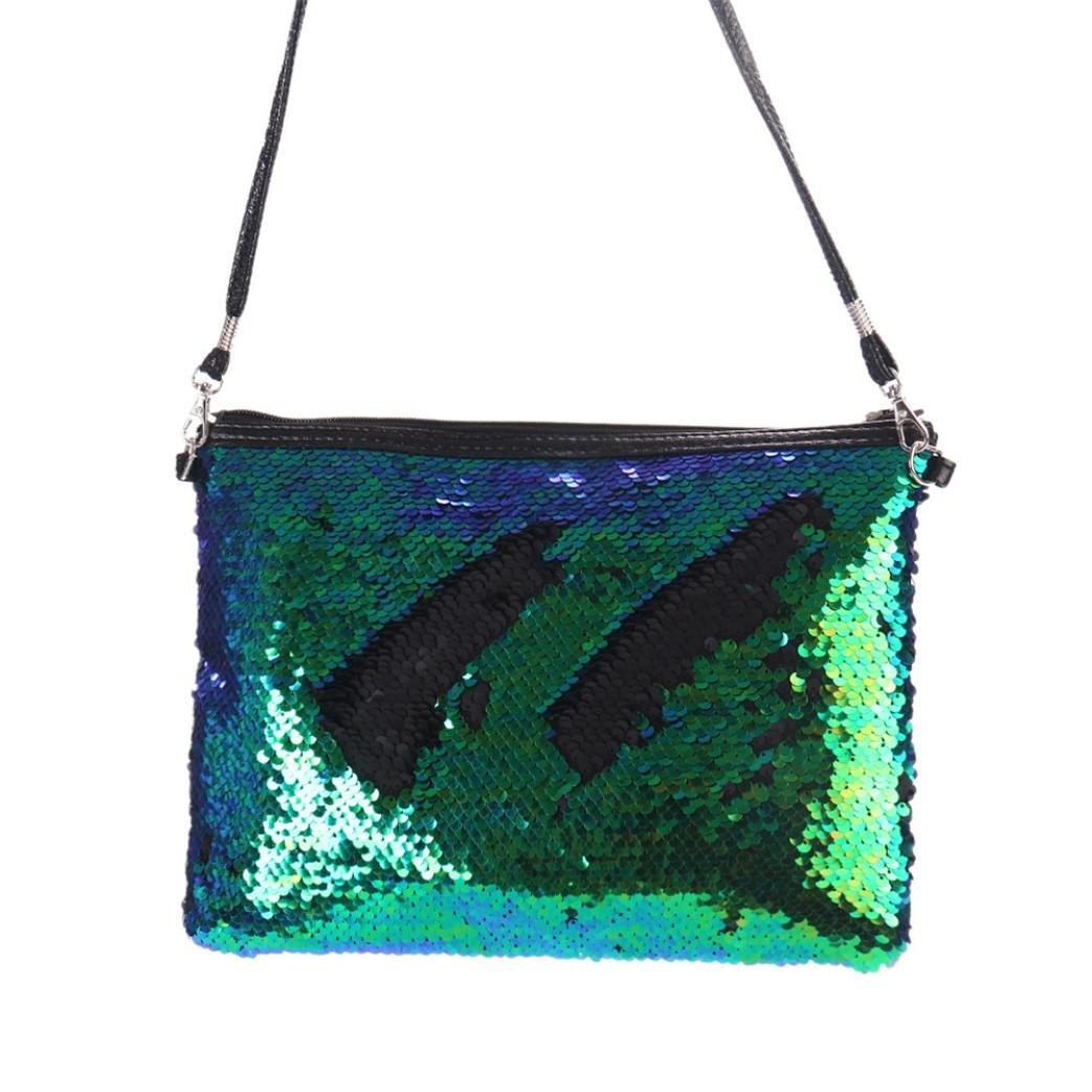 ZYooh Fashion Women Girls Handbag Sequins Tote Purse Messenger Phone Holder Bag Crossbody Shoulder Bags (Green) by iLH_ Crossbody Bag (Image #3)