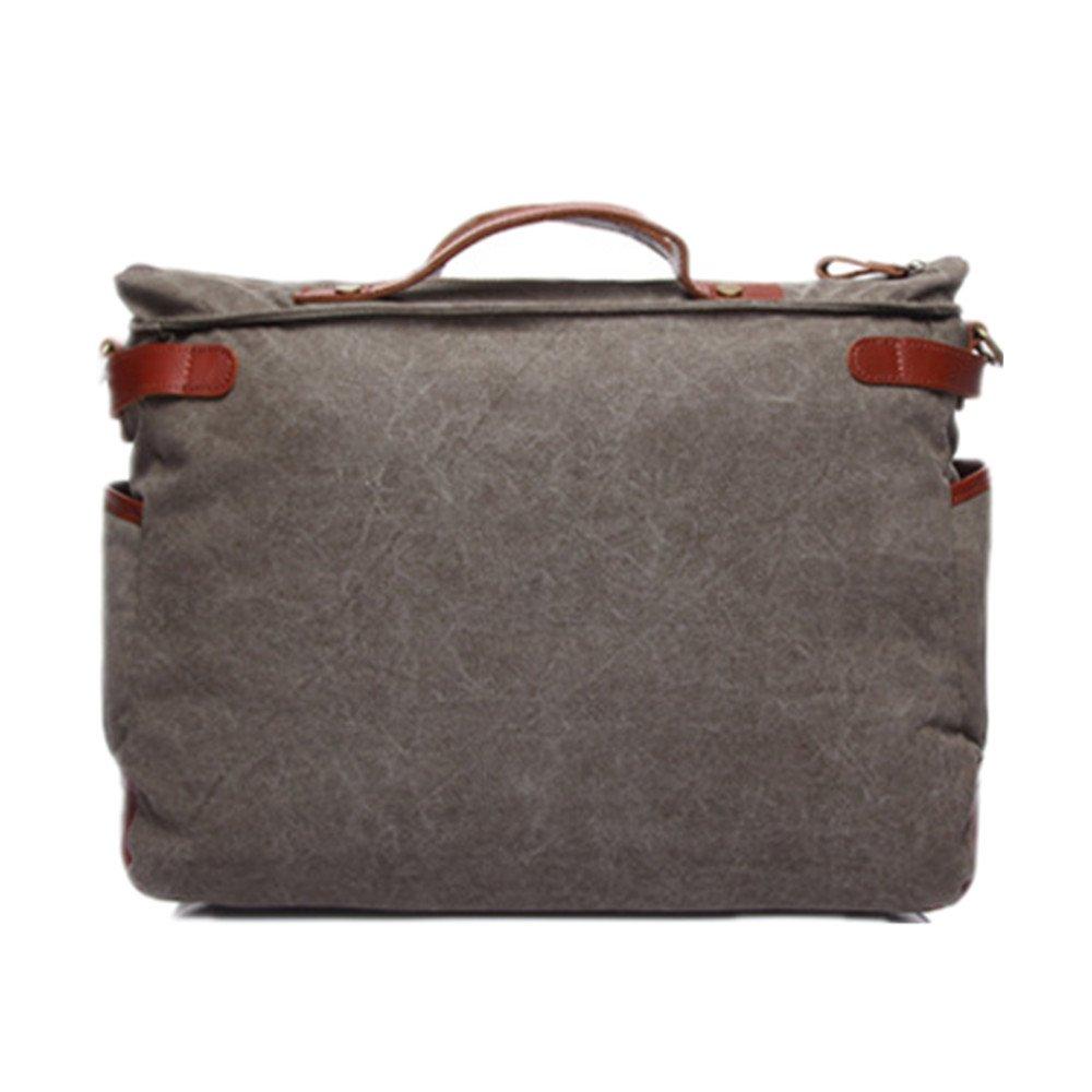 QARYYQ Canvas Bag Mens Retro Travel Bag Shoulder Slung Handbag Multi-Function Tide Bag Mens Handbag 41 28 13cm Business Briefcase Multi-Color Optional Color : Khaki