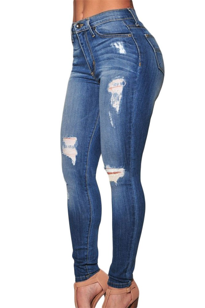 VIGVOG Women's Sexy High-rise Ripped Distressed Skinny Jeans Plus Size