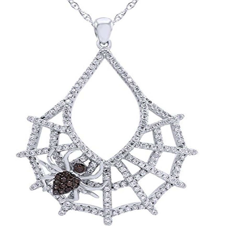 Silverraj Jewels Fashion Pendant Collection 14K White Gold Plated Simulated Excellent Cut White Black CZ Diamond Charm Spider Web Pendant With 18 Box Chain