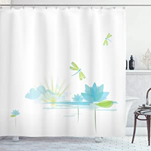Ambesonne Dragonfly Shower Curtain, Waterlily and Dragonfly Nature Background Clouds Lake Sun Design, Cloth Fabric Bathroom Decor Set with Hooks, 70