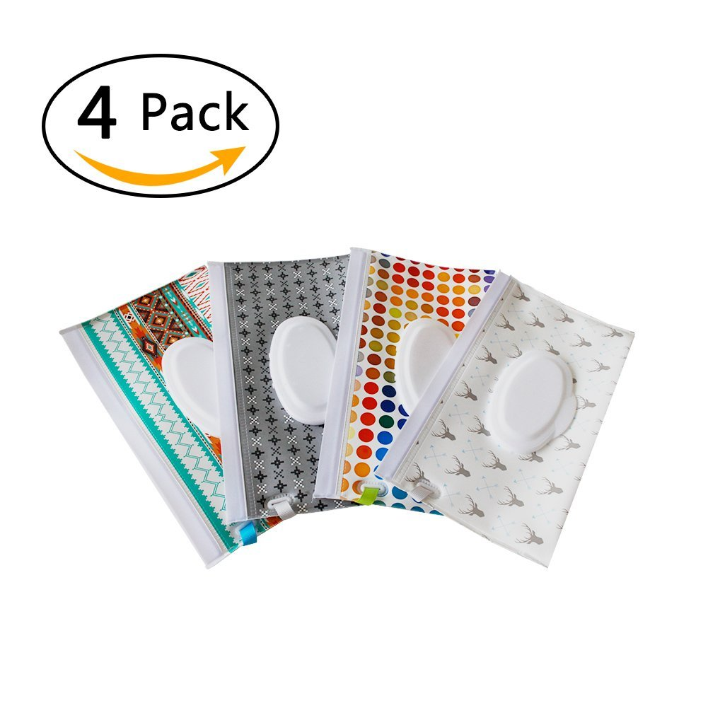Reusable Wet Wipe Pouch [Set of 4] - Dispenser Personal Wipes,Wet Wipe Portable Travel Cases