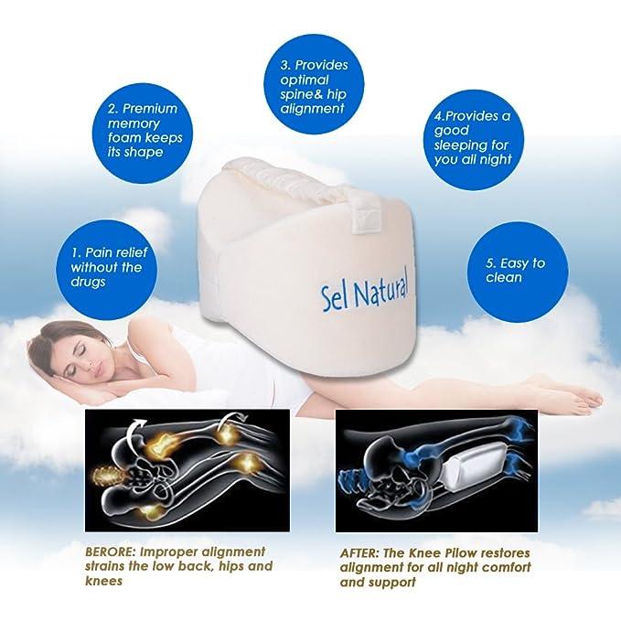SEL Natural rodilla cojín para ciática Alivio, pierna almohada de espuma de memoria para dolor de espalda, dolor en la pierna, embarazo, cadera y dolor en ...