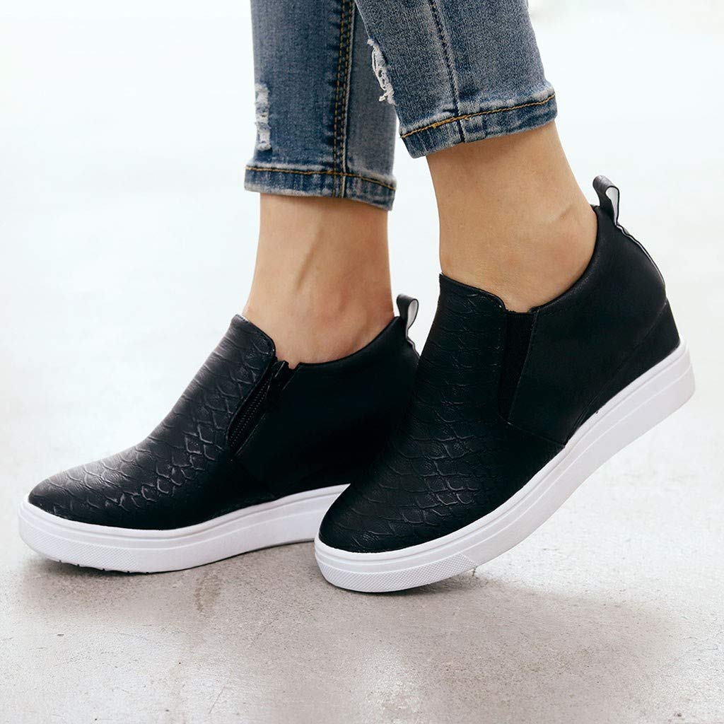 e079266c Limsea 2019 Women's Artificial Leather Zipper Low Top Solid Color Fashion  Sneaker Spring Summer