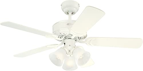 Westinghouse Lighting 7873065 Downrod Mount, 4 White Blades Ceiling fan, White