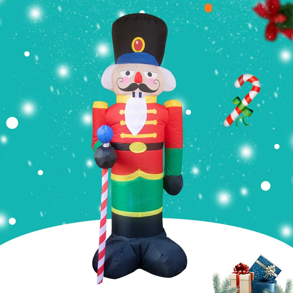 GREENWISH 8 Foot Christmas Inflatable Nutcracker Soldier Outdoor Decorations with 3 LED Lights Christmas Blow Up Nutcracker Soldier Self-Inflating Decor for Lawn Yard Porch Xmas Party Outside