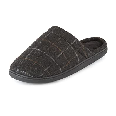 6fc9cfcb8ac5 Totes Mens Grey Checked Print  Pillowstep  Mule Slippers L  Amazon.co.uk   Shoes   Bags