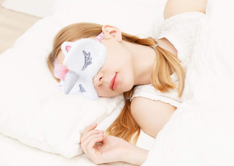 Fascigirl Maschera per Dormire Unicorno, Maschera per Dormire Bambini Mascherina per Occhi Unisex 3D Peluche Traspirante Maschera per gli Occhi Simpatico Cartone Animato (4 pezzi)