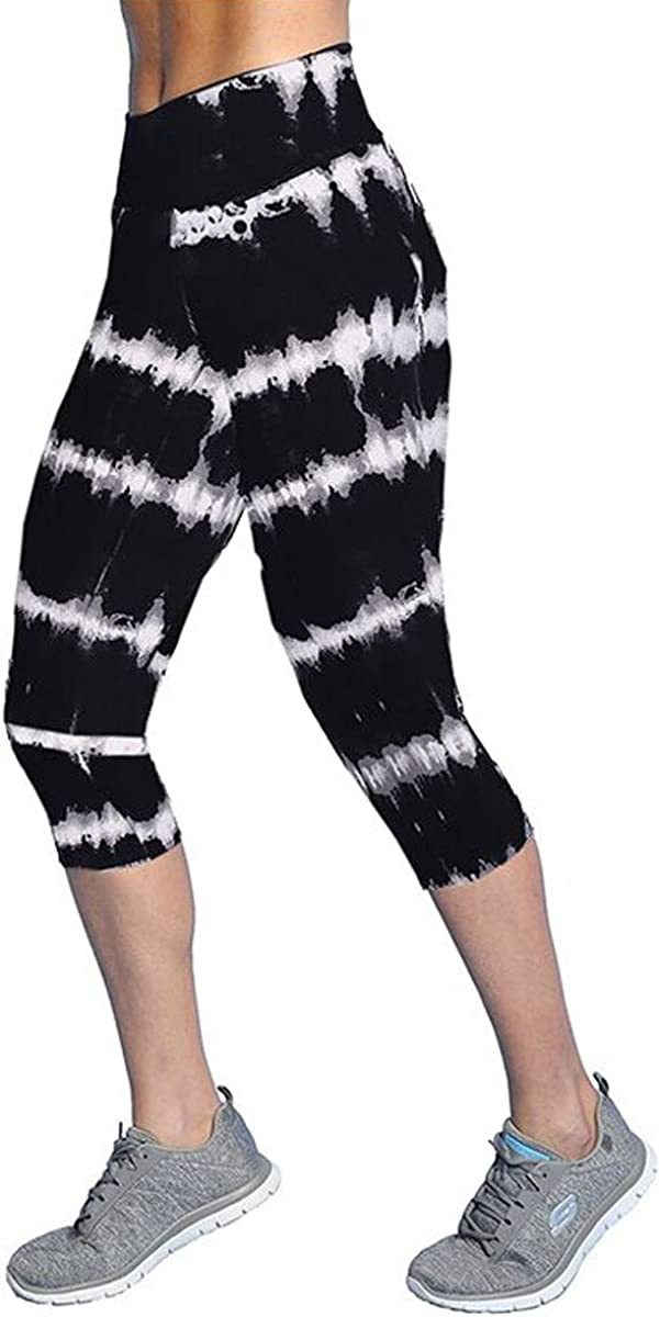 Ancia Womens Tartan Active Workout Capri Leggings Fitted Stretch Tights