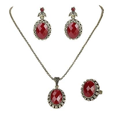 Amazoncom Women Charming Wedding Jewellery Set Retro Style Red