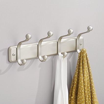 mDesign Perchero de pared metálico - Colgador de ropa con 8 ...
