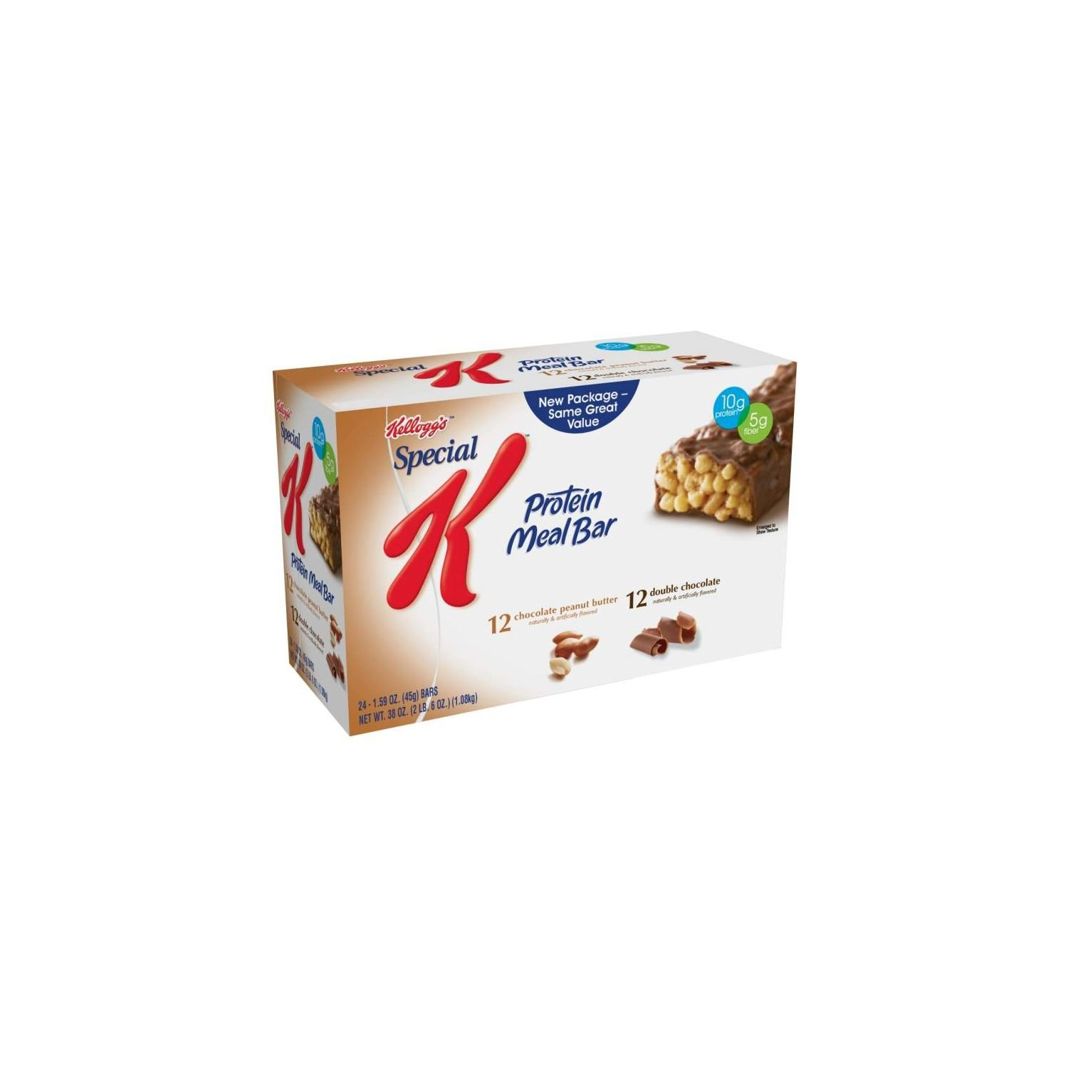 Kellogg's Special K Protein Meal Bar, Variety Pack, 12 Double Chocolate and 12 Chocolate Peanut Butter, 1.59-Ounce Bars, Pack of 24