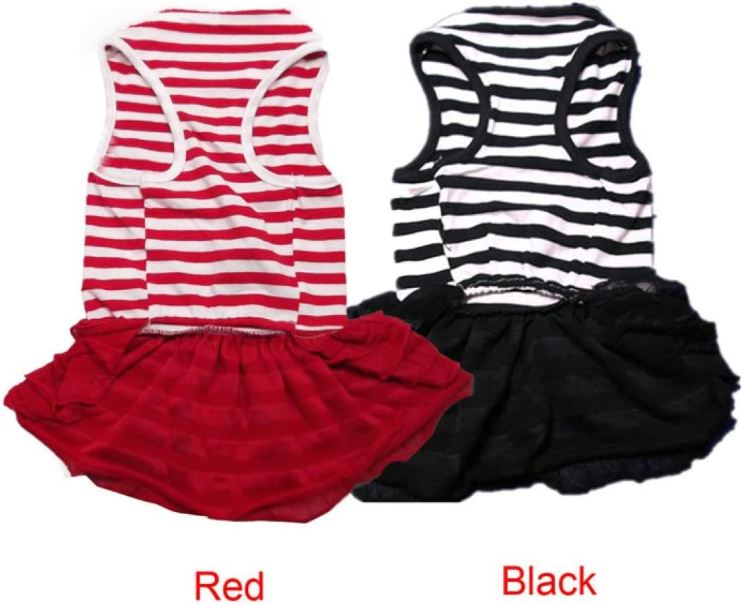Pet Striped Princess Skirt Puppy Lace Vest Small Doggy T-shirt Clothes Axchongery Dog Dress