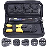 Amzdeal Crimping Tool Kit Ratchet Terminal Crimper Tool 20-2 AWG 5 Interchangeable Die Set for Insulated and Non-insulated Terminals with Storage Bag
