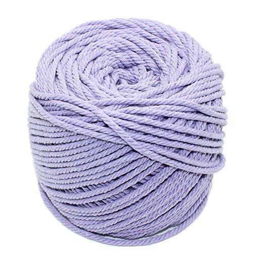 Macrame Cord Light Purple Unicorn Purple Natural Cotton Wall Hanging Plant Hanger Craft Making Knitting Cord Rope 3mm Dia (3mm Light Purple)