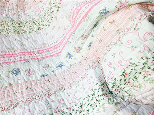 Cozy Line Home Fashions Pink Rose Romantic Chic Lace Bedding Quilt Set, Floral Flower Printed 3D Stripe 100% COTTON Reversible Coverlet Bedspread Gifts for Girls Women (Queen - 3 piece) by Cozy Line Home Fashions (Image #4)