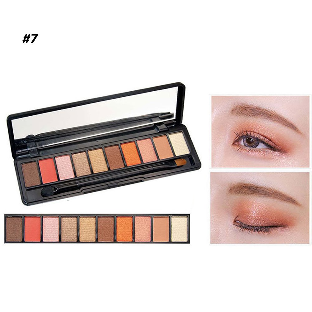 10 Colors Eye shadow Palette Makeup Powder Matte Shimmer Eyeshadow with Brush Cosmetic Set 0.53oz(#7)