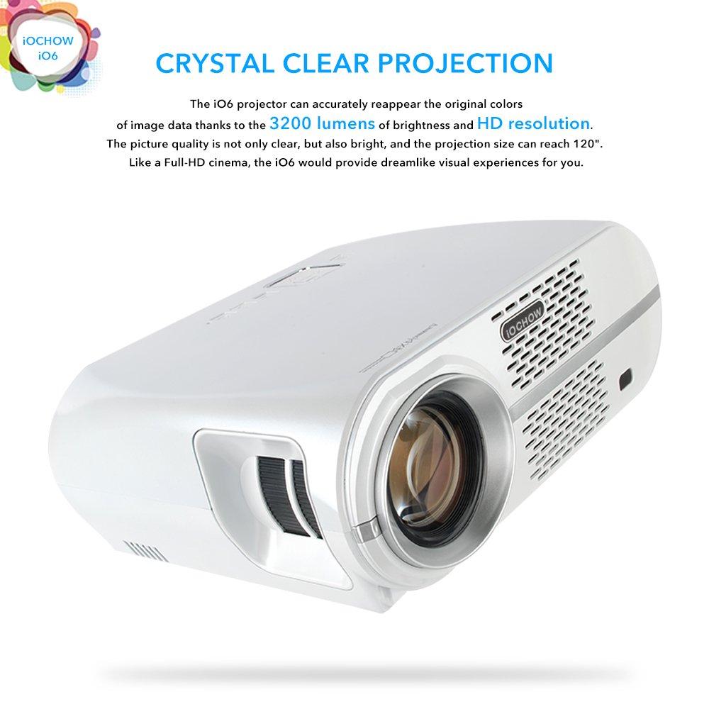 iOCHOW iO6 Proyector, Soporta 1080P, 3200 Lumens LED, 30000 Horas ...