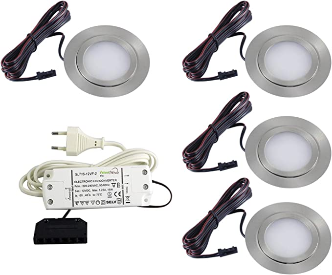 Lot De 4 Spots Led Plats Encastrables Pour Meubles 3 W Led Smd