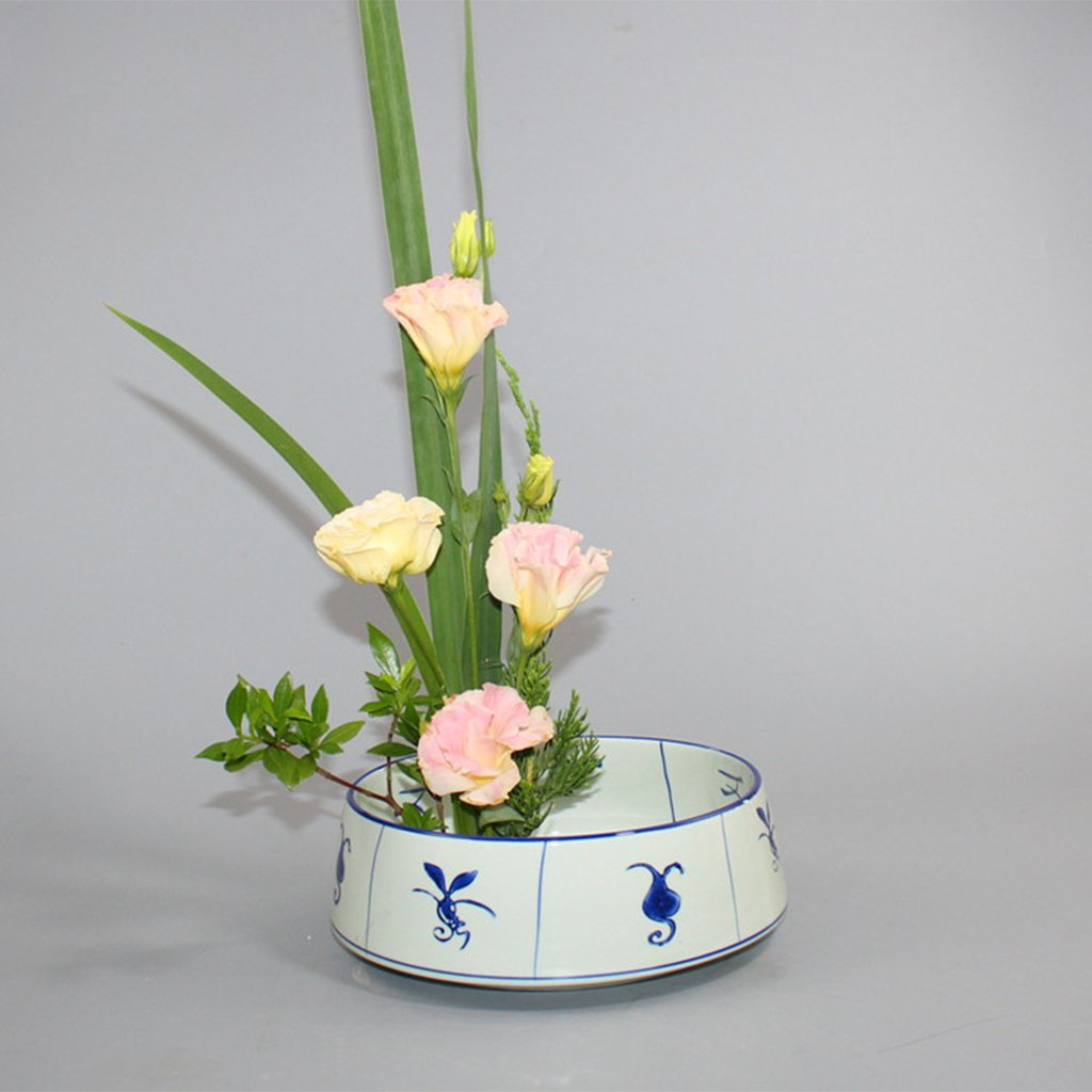 B Blesiya Japanese Round Ikebana Kenzan Flower Frog with Storage Bag Durable Anti Slip