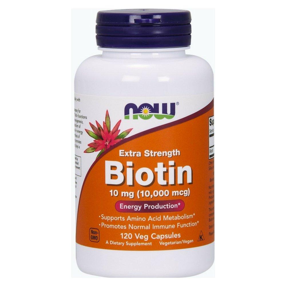 NOW Biotin 10 mg (10,000 mcg),120 Veg Capsules