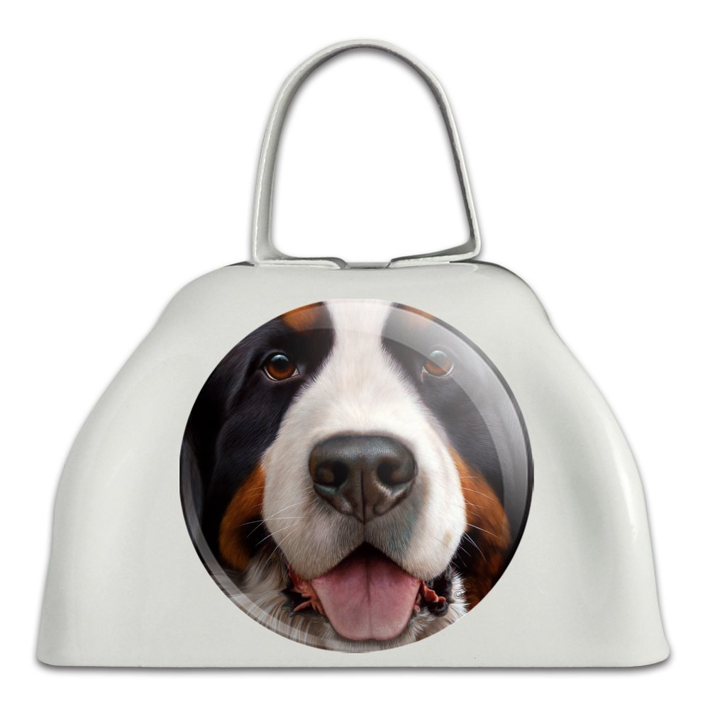 Bernese Mountain Dog Face Closeup White Metal Cowbell Cow Bell Instrument