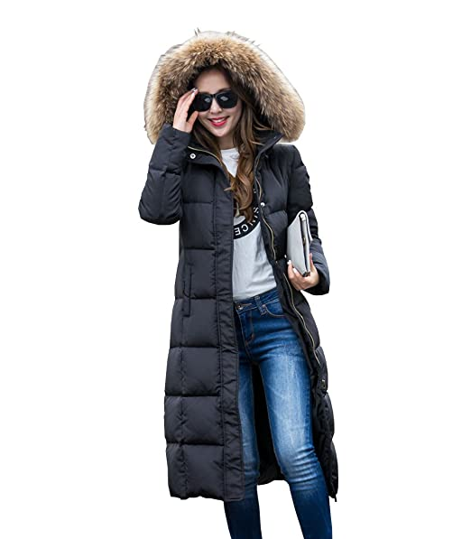 a94616c6952 Women's Fashion Winter Hooded Coat Ultra Long Down Jacket: Amazon ...