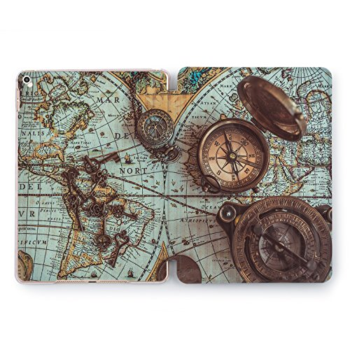 Wonder Wild Old Colorful World Map iPad 5th 6th Generation Mini 1 2 3 4 Air 2 Pro 10.5 12.9 2018 2017 9.7 inch Abstract Vintage Smart Cover Texture Design Case Compass Line Inkwell Retro Print Travel