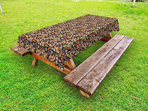 Lunarable Birds Outdoor Tablecloth, Traditional Pigeon Motifs in The Meadow of Flowers Ornamental Ethnic Animal Motifs, Decorative Washable Picnic Table Cloth, 58 X 84 inches, Multicolor by Lunarable