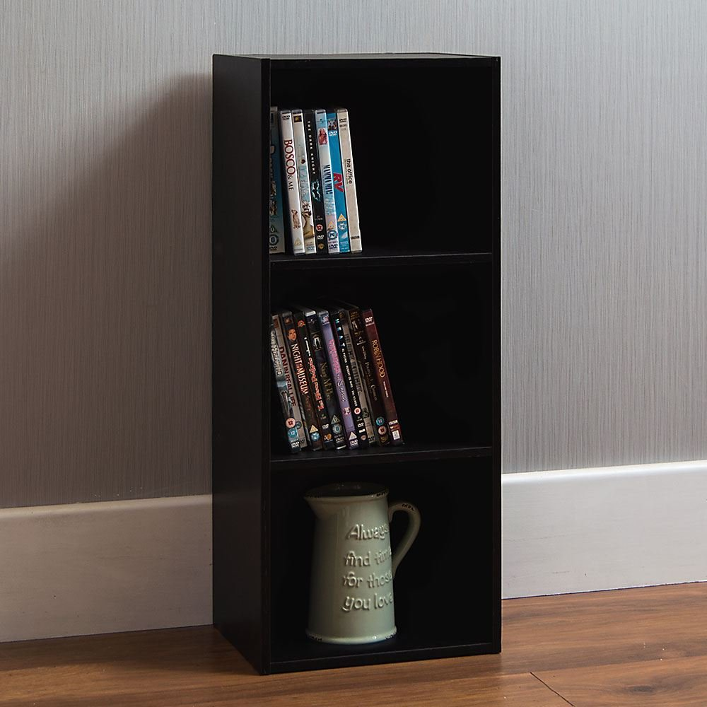 Home Discount Oxford 3 Tier Cube Bookcase, Black Wooden Shelving Display Storage Unit Office Living Room Furniture