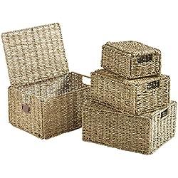 VonHaus Set of 4 Seagrass Storage Baskets with Lids and Insert Handles - Home & Bathroom Organizer Baskets