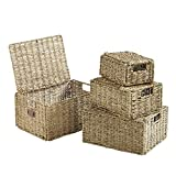 large basket lid - VonHaus Set of 4 Seagrass Storage Baskets with Lids and Insert Handles Ideal for Home and Bathroom Organization