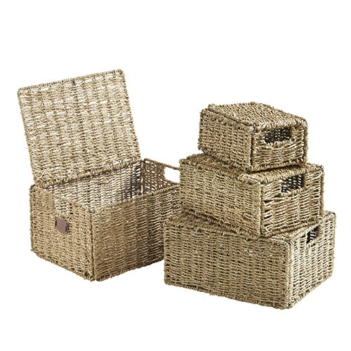 (VonHaus Set of 4 Seagrass Storage Baskets with Lids and Insert Handles Ideal for Home and Bathroom Organization ,Biege ,Set of 4 Seagrass with Lid)