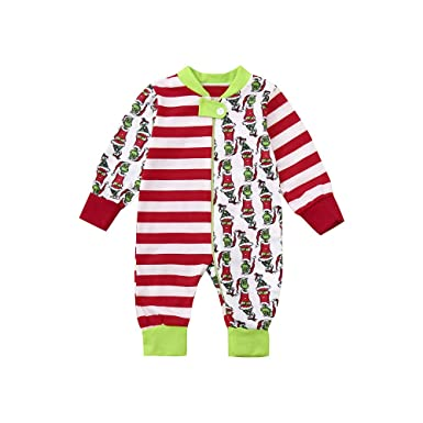 One Piece Vovotrade Toddler Christmas Family Lattice Print Rompers Newborn  Boys Girls Xmas Patchwork Zipper Jumpsuit Kid Sleepwear Xmas Nightwear for  3-18 ... 3a3cbba5c